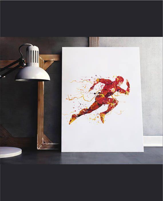 Flash Poster Flash Art Watercolor Flash Flash Wall Art Etsy Justice League Wall Art Etsy Wall Art Flash Art