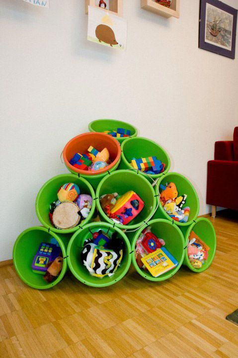 buckets and zipties turn into an adorable shelf!