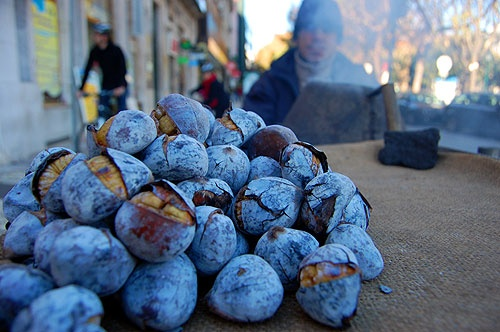 Chestnuts in autumn, Lisbon, Portugal