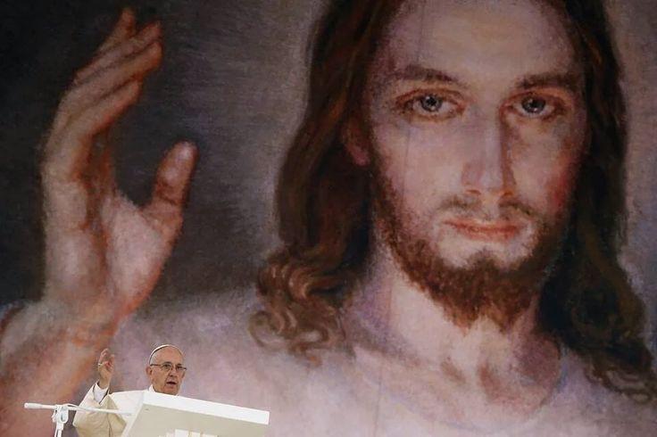 Jezus Miłosierny i Papież Franciszek podczas ŚDM w Krakowie 2016