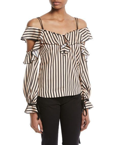 d6b78aa9fcc New self portrait style cold shoulder striped satin long sleeve blouse  2 4 6  fashion  clothing  shoes  accessories  womensclothing  tops (ebay  link)