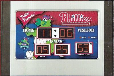 Philadelphia PHILLIES PHANATIC Scoreboard Desk MLB ALARM CLOCK w/Temp & Date