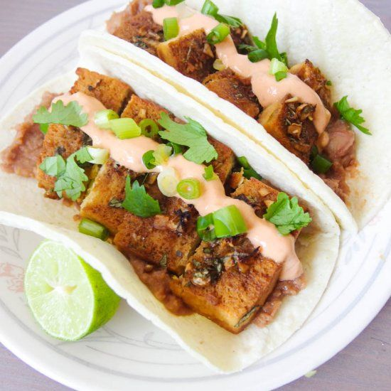 Baked tequila lime tofu tacos with chipotle crema - a vegan Cinco de ...