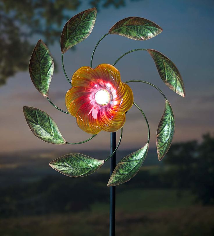 Solar Flower Wind Spinner, Glass And Metal Decorative Garden Accents From  Plow U0026 Hearth On Catalog Spree