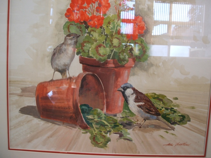 Sparrows in the Pots Original oil painting by Aston Greathead . Available in Crossroads Gallery