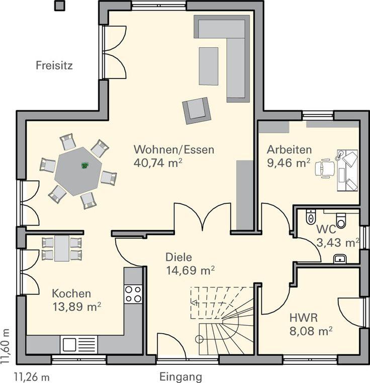 57 besten grundrisse bilder auf pinterest haus grundrisse grundriss einfamilienhaus und bungalows. Black Bedroom Furniture Sets. Home Design Ideas