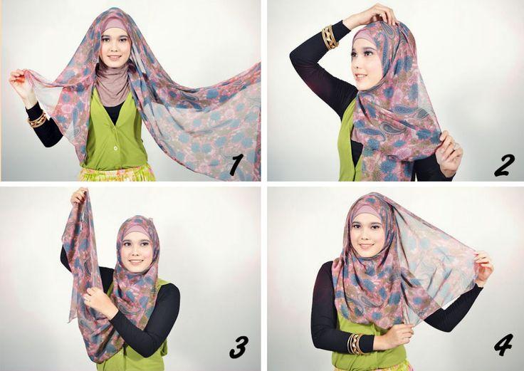 Tutorial Jilbab Menggunakan kain Pashmina yang Sederhana