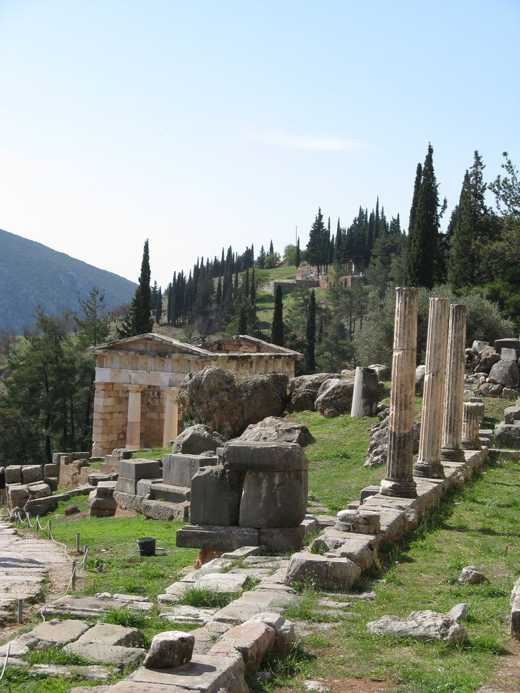 Treasury of the Athenians along the Sacred Way at Delphi.
