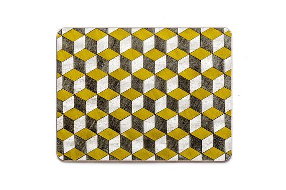 6 Placemats Retro Yellow & Grays Placemats Art Deco Place mats