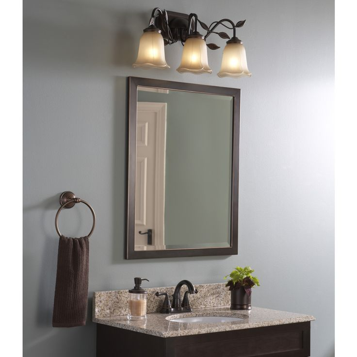 Shop Allen Roth 30 In H X 24 In W Oil Rubbed Bronze Rectangular Bathroom Mirror At