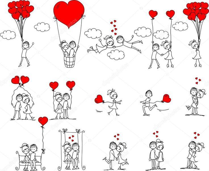 Laden Sie lizenzfreie Valentin doodle, jungen und Mädchen, Vektor Stockvektoren…