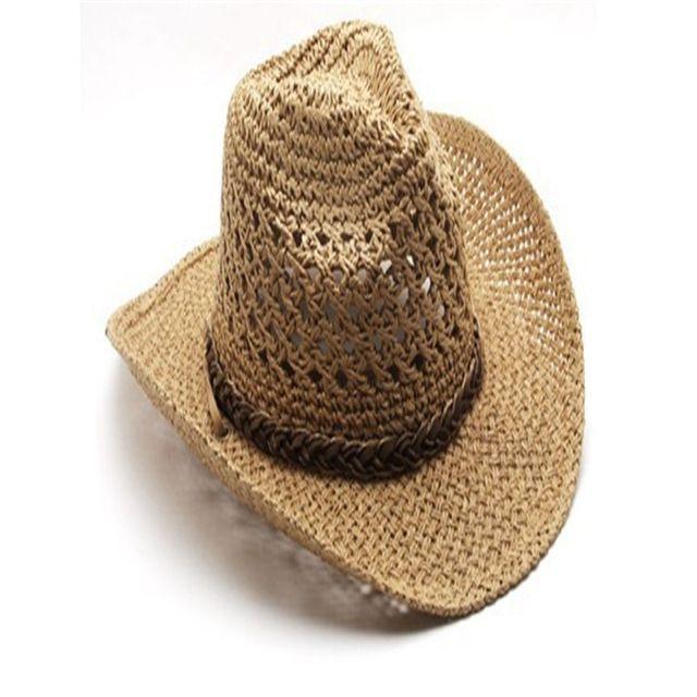 Summer Style Straw Cowboy Hat Unisex Hollow Western Hats Beach Felt Sunhats  Party Cap for Man 69490c38c17