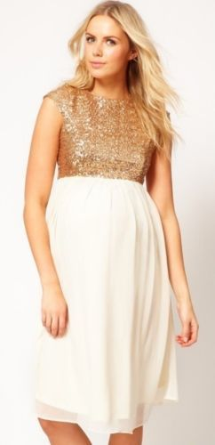 New ASOS Lush Cream Gold Sequin Maternity Dress Size 8 10 12 14 16 RRP £45 | eBay