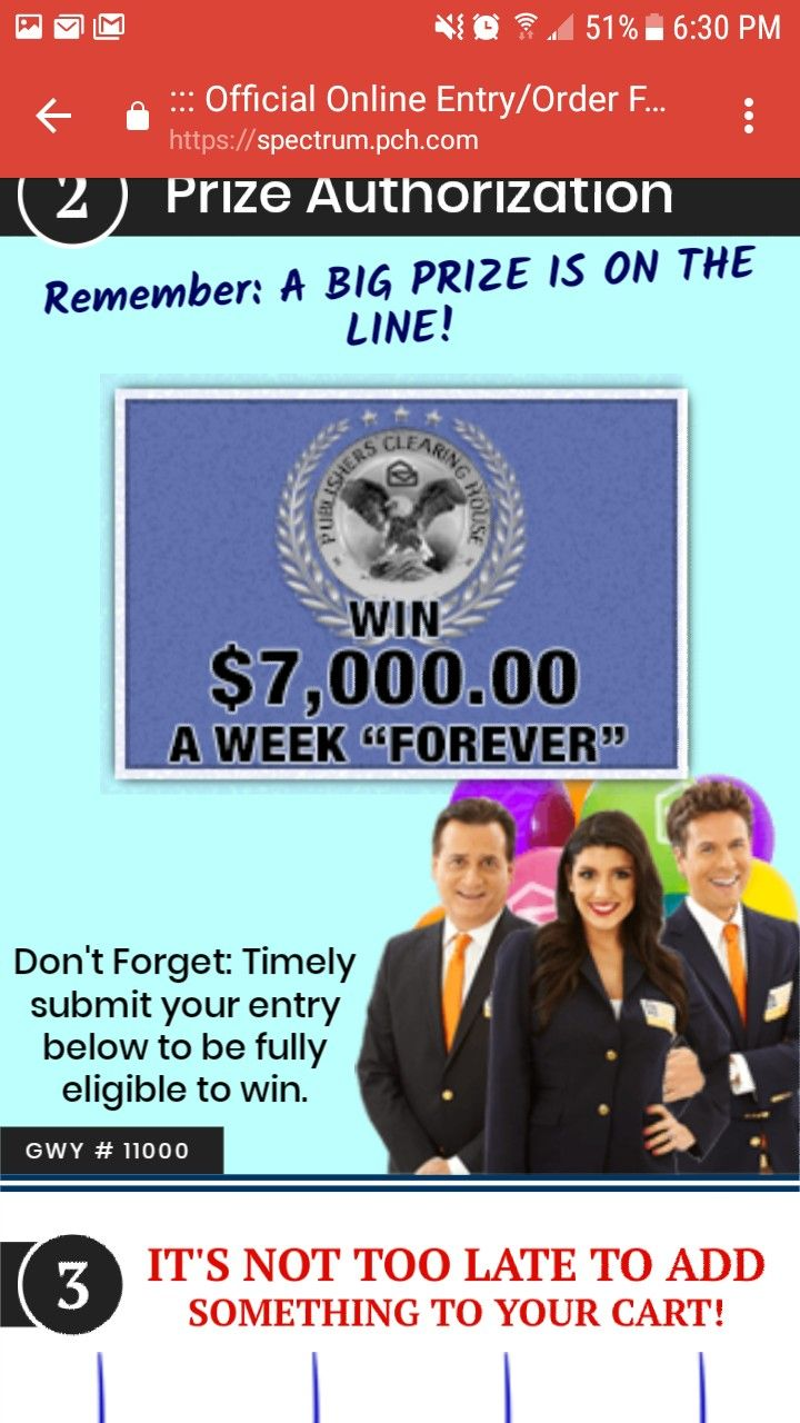 """PCH I RROJAS CLAIM MY ENTRY TO WIN $7,000 00 A Week """"Forever"""