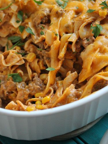Creamy Enchilada Pasta Casserole with Green Chiles, Corn, Sour Cream, and Cream