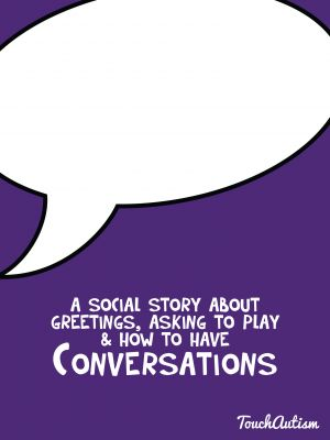 Four social stories for teaching conversation skills & speech tools to practice these skills $3.99 in the app store. This is a great social story for initiating play, greeting people, or having a conversation. These things can be difficult to teach and so the visual supports in the app really help. #touchautism