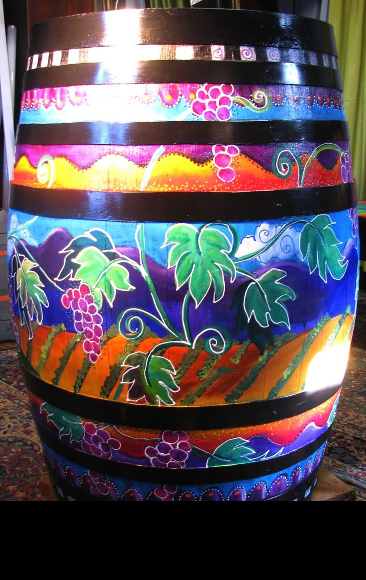 wine barrels hand painted | Finished up - on side. the straps were painted black, the detail has ...