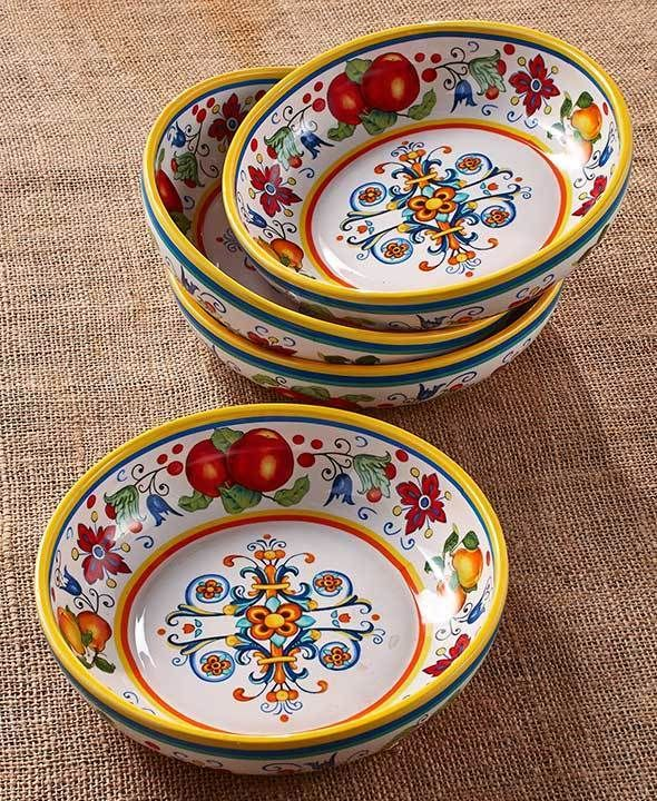 ITALY 4 PASTA BOWL SET ELEGANT COLORFUL PATTERN SALAD OR PASTA 31.5 oz., each #Unbranded