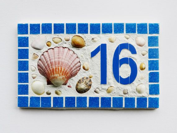 Large Outdoor House Number Mosaic House Number by jenzartcreations