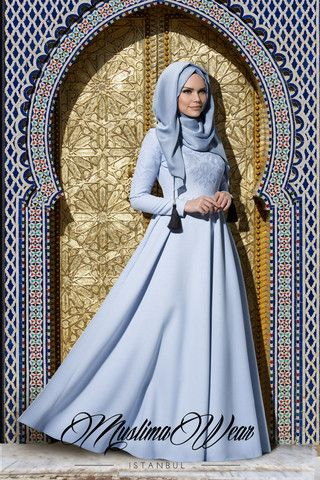 Muslima Wear. Dress with aqua silky floral embroidery  Baby Blue Size S the last one.