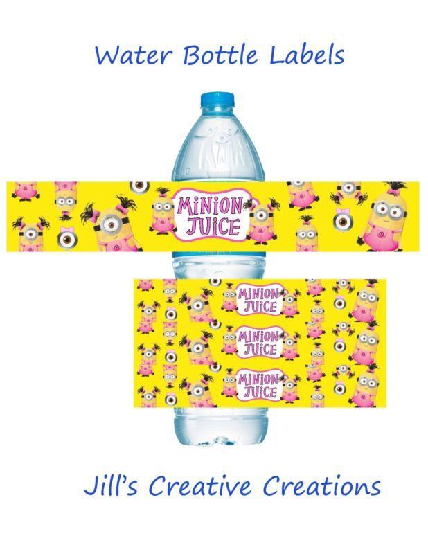 Minion Water bottle labels, Minion Birthday, Minion Party Supplies