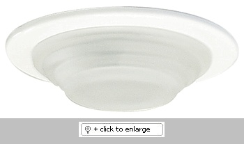 """Mini MR16 Downlight with Shower Trim with Frosted Stepped Glass and Rubber Gasket   Includes miniature thermally protected housing 3"""" high    ETL Listed for remote transformers.   Damp location listed  Lamp: 12V 35W MR16 (not included)    Dimension: Cutout: 3 1/8"""", Trim O.D.: 3 1/2"""", Housing height: 3""""  Regular price: $37.99  Sale price: $21.50"""