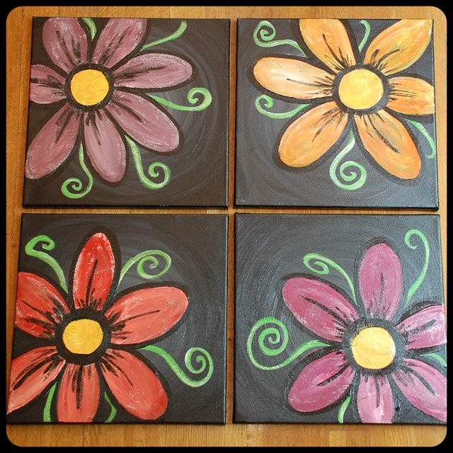 OOAK Acrylic Paintings - Four 12 x 12 Canvases - Flowers - Home Decor. $150.00, via Etsy.