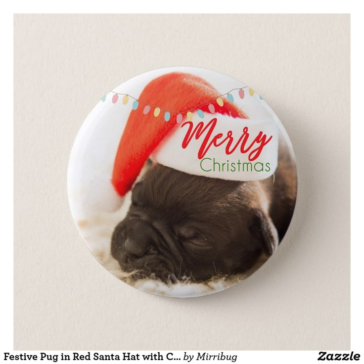 Festive Pug in Red Santa Hat with Christmas Lights Pinback Button