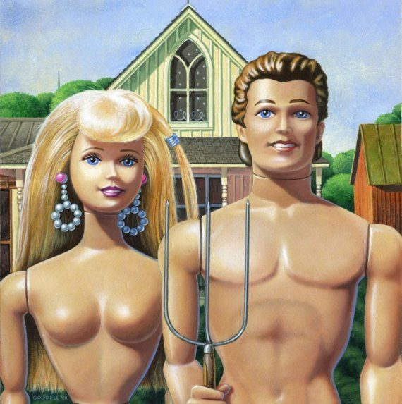 Barbie and Ken American Gothic painting