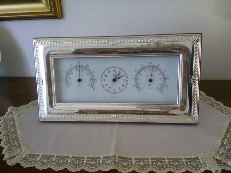 Orologio da tavolo con cornice silver / Orologio con sveglia / Orologio in legno laccato con gradi e igrometro di VintaFai su Etsy
