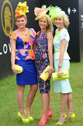 Melbourne Cup Fashion in the Field entrants Stephanie Macor, Carle Rutledge and Amanda Macor
