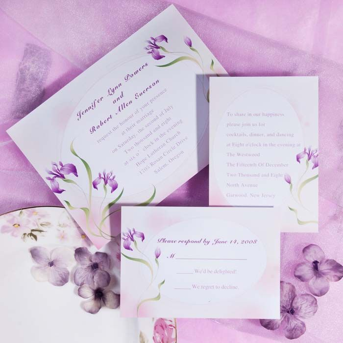 elegant purple flower spring printable wedding invitations