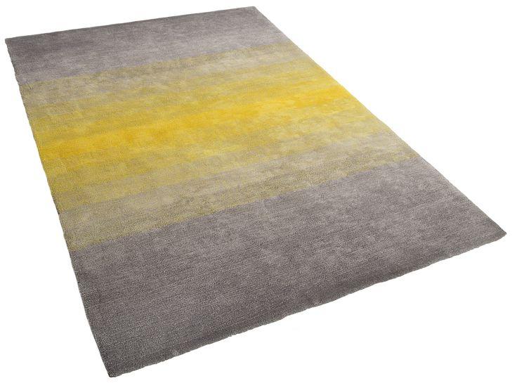 Matta grå-gul - 300x400 cm - lurvig - polyester - DINAR
