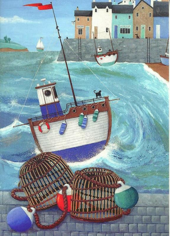Peter Adderley. notecard image for the RNLI. Lobster Pots.