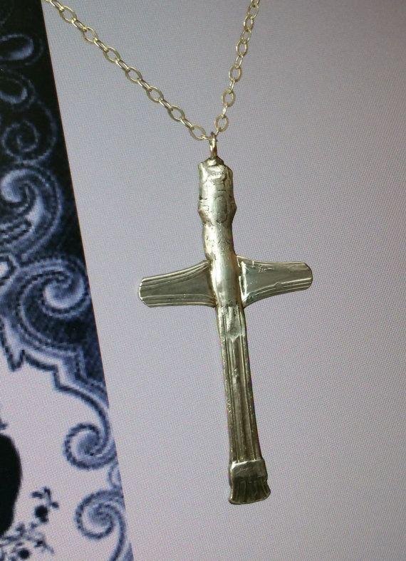 Schlichter Silberbesteck-Kreuzanhänger AH394 von Schmuckbaron