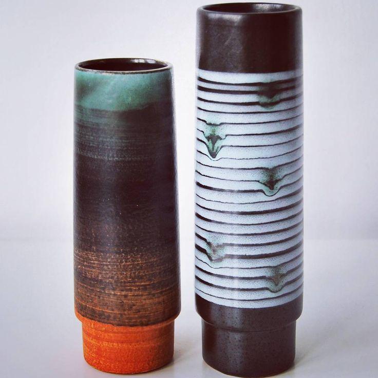 West German pottery set 2 vases fat lava VEB HALDENSLEBEN    #westgermanpottery #wgp #moderndesign #vintagevases #pottery #keramik #midcentury #fatlava
