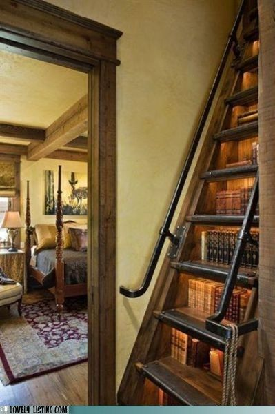 Stair Case - Book Case (would be cool in a normal staircase as well)Bookshelves, The Loft, Future House, Book Storage, Bookcas, Book Shelves, Attic Playrooms, Small Spaces, Staircas