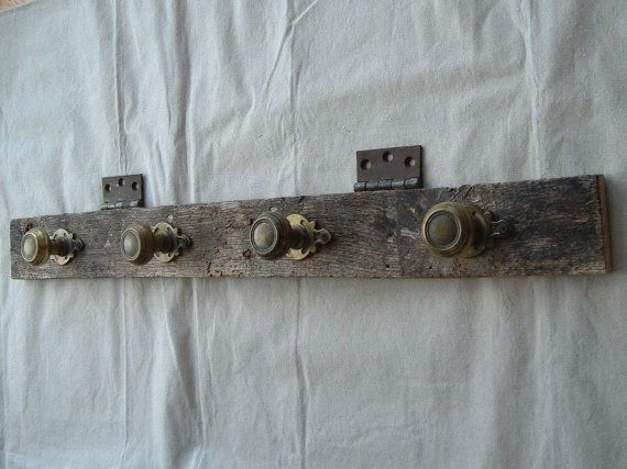 Vintage Repurposed Barn Wood and Brass Door Knob by DivaInTheDell, $65.00
