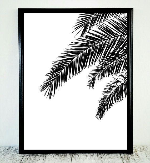 Zwart wit Print zwart witte Palm Print tropische door CristylClear