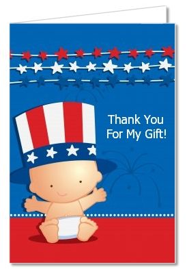Fourth Of July Stars Stripes Baby Shower Thank You Cards