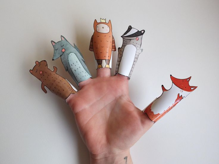 Forest Hand Drawn Paper Finger Puppets By Curmilla, Printable PDF,Fox,Owl,Bear,Badger and Wolf.