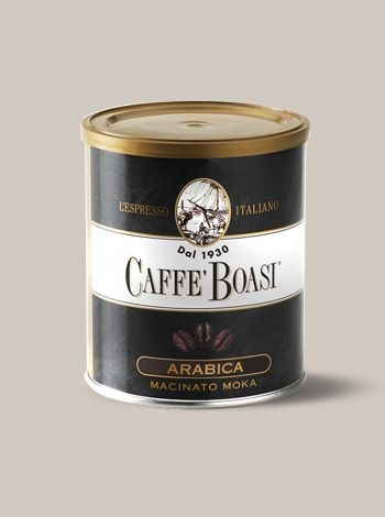 Caffè Boasi Lattina Macinato Moka - A fine blend of pregnant body. Its exquisite acidity releases parfumes of berries and of raisins. PACKAGES: 250 gr