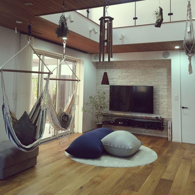 shiiimay114さんの、部屋全体,風鈴,ハンモック,流木,新築,エアープランツ,マイホーム,注文住宅,二世帯住宅,カリフォルニアスタイル,Yogibo,パナホーム ,プラントハンガー作りました,Pana Home,子世帯,のお部屋写真