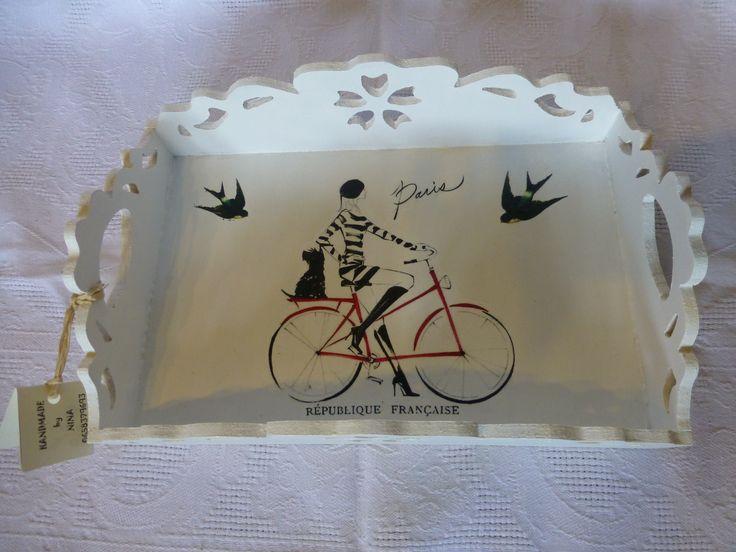 "Decorative tray ""Paris"" made of MDF Dimensions 30cm x 19.5cm x 8.5cm"
