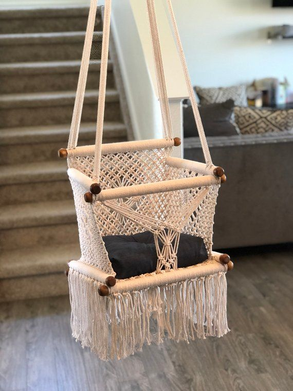 Baby Swing Chair Macrame 100 Natural Cotton Fast Delivery Shipping On 5 Days To Us And Canada Baby Canada In 2020 With Images Baby Swing Chair Baby Hammock Swinging Chair