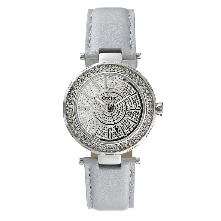 Oxette Deep Light Grey Couture Watch with leather band - Available here http://www.oxette.gr/rologia/s.steel-watch-2row-stones-grey-strap-oxette-641l-1/         #oxette #OXETTEwatch #watches