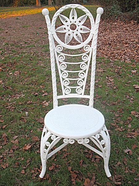 Fancy Antique Victorian Wicker Reception Chair Heywood Brothers and Wakefield Company