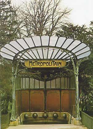 Paris Metropolitain entrances, art nouveau style designed by Hector Guimard before the Exposition.