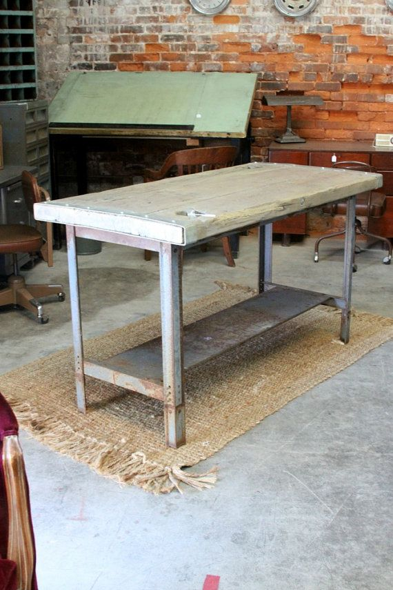 Industrial Kitchen Island Or Table Metal With Upcycled Boat Hatch Door Top
