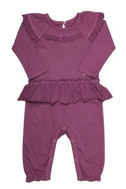 Naartjie Kids SA long-sleeved babygrow with frill detail, finished with Baby Naartjie embroidery.